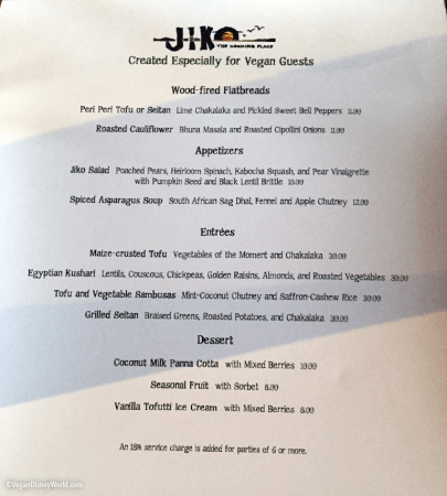 Jiko Vegan Menu May 2015