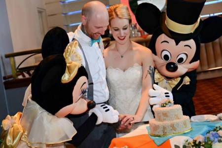 Cutting Cake with Mickey and Minnie
