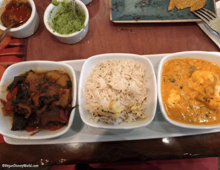 Vegetables and chickpeas in goan curry sauce and Vegetable Wat