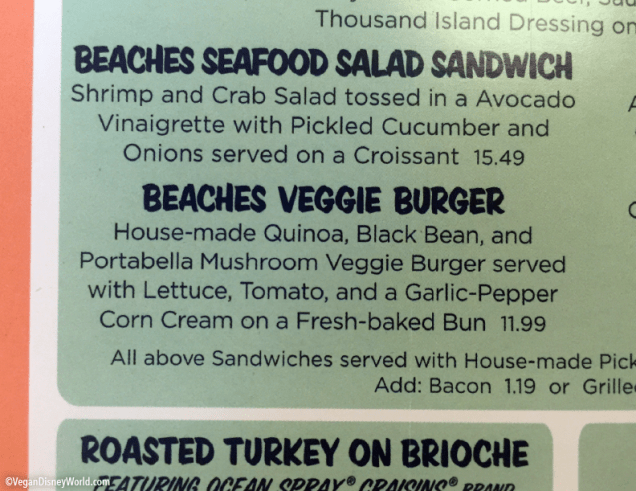 Veggie Burger on the menu