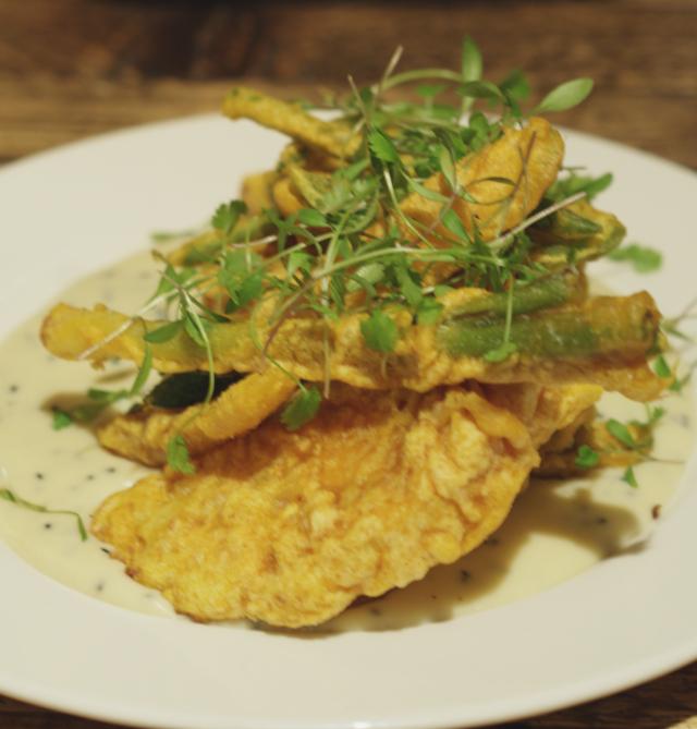 Vegetable tempura with a dairy free béchamel sauce at Checkpoint Edinburgh