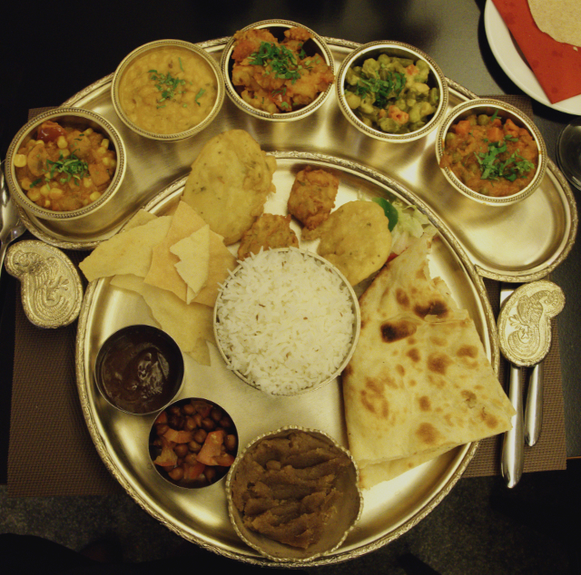 Vegan thali raj bhog at Kalpna Edinburgh