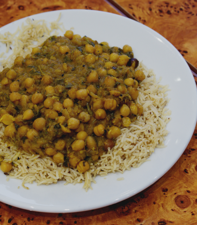 Vegan Chana Masala (chickpea curry) at the Mosque Kitchen, Edinburgh