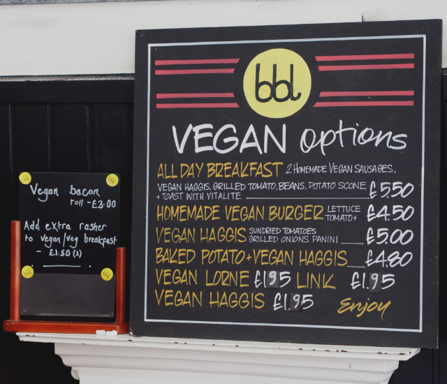 Vegan menu at bbl Edinburgh