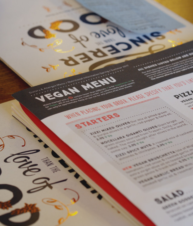 The vegan menu at Zizzi Edinburgh