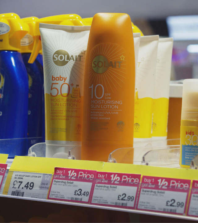 Vegan suncream at Superdrug, Edinburgh Airport