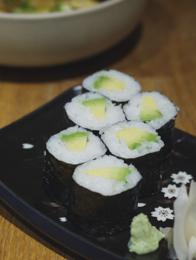 Avocado sushi at Tangs Edinburgh