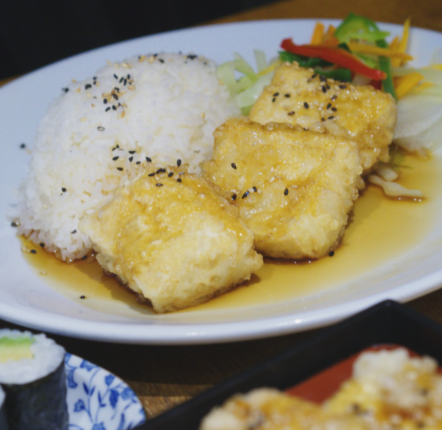 Tofu and rice at Tangs Edinburgh