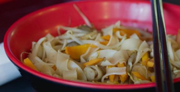 Mushroom Tofu and Carrot Ho Fun Noodles