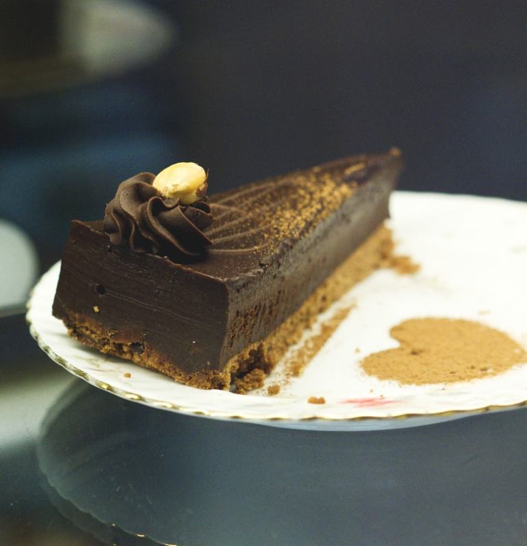 Vegan chocolate hazelnut tart at the Chocolate Tree Edinburgh