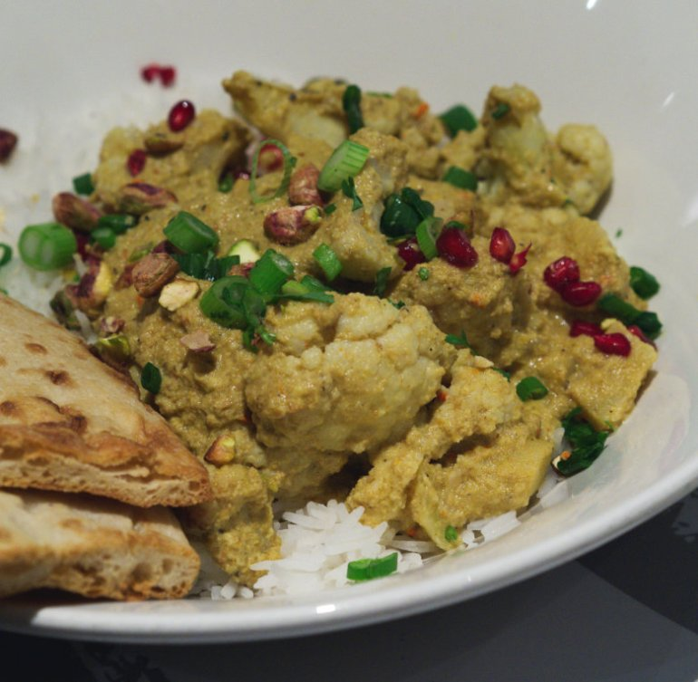 Vegan cauliflower curry at Filmhouse Cafe Bar