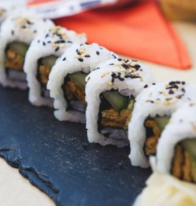 Vegan sushi at Bonsai Bistro Edinburgh