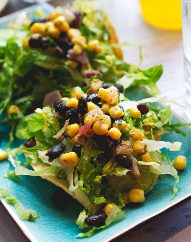 Vegan Guacamole, black bean and corn tostadas at Topolabamba Edinburgh