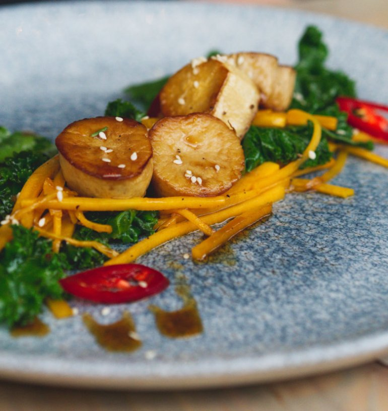 Vegan king oyster mushroom scallops at Vesta, Edinburgh
