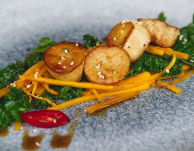 Vegan Mushroom Scallops at Vesta, Edinburgh
