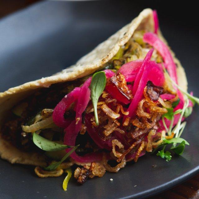 Vegan Taco de puerros at El Cartel, Edinburgh
