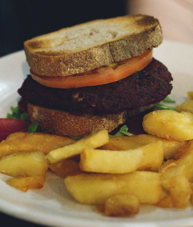Vegan burger and chips at Scran and Scallie, Edinburgh