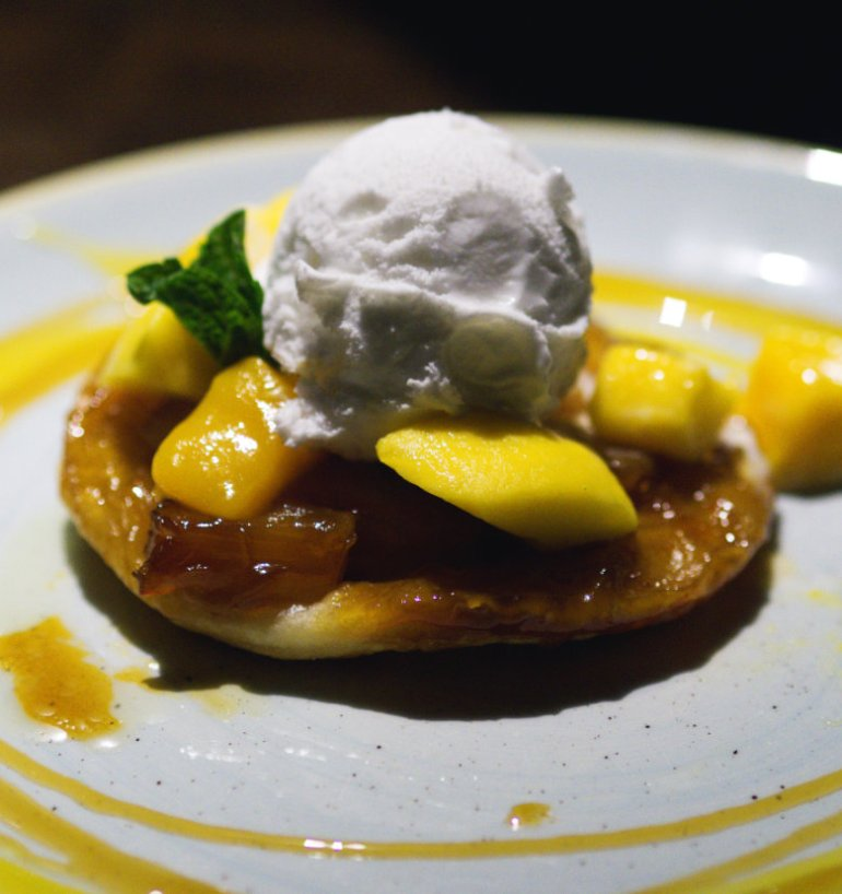 Vegan pineapple Tarte Tatin at The Sheep Heid Inn, Edinburgh