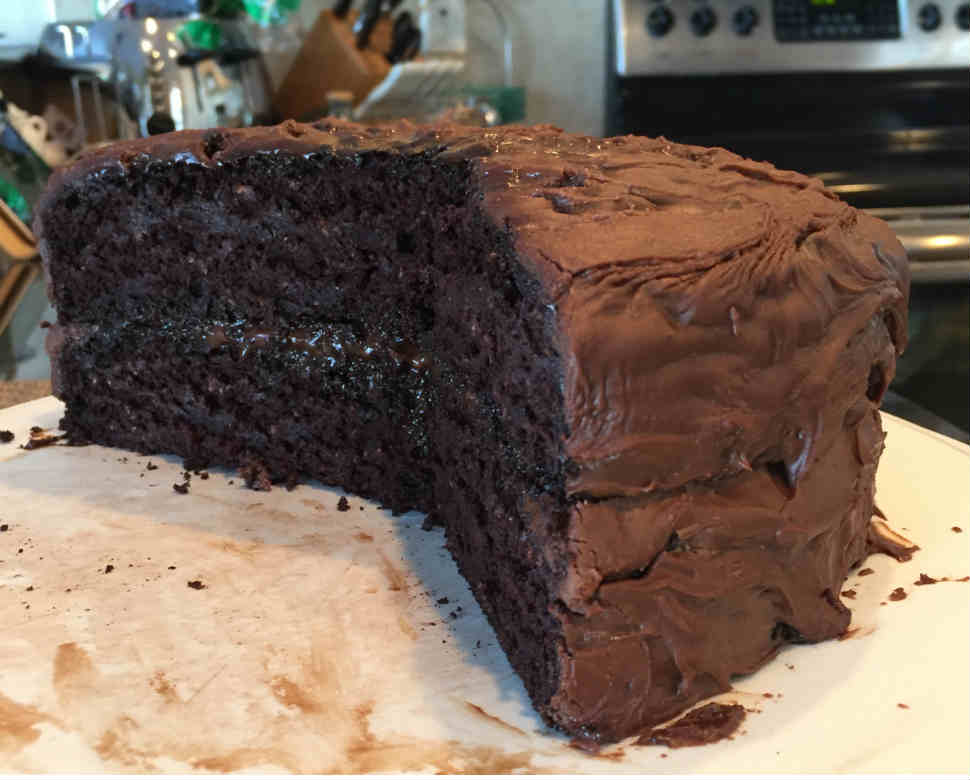 Image of rich chocolate vegan cake, great for birthday parties, so healthy and fat-free.
