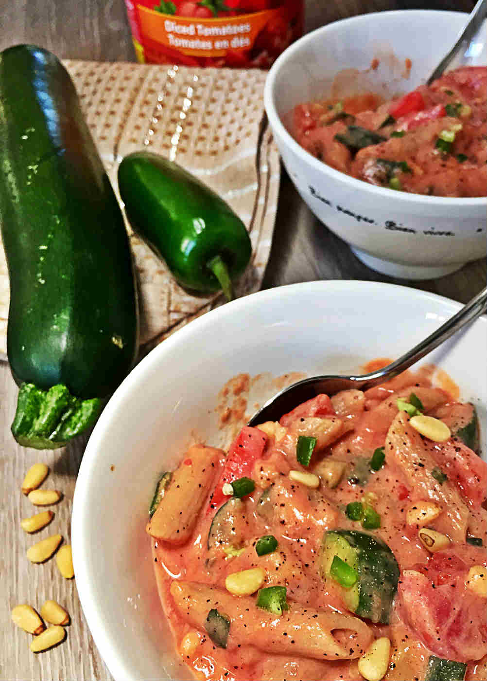 Image of Creamy Tofu Pasta Sauce with Zucchini and Tomatoes