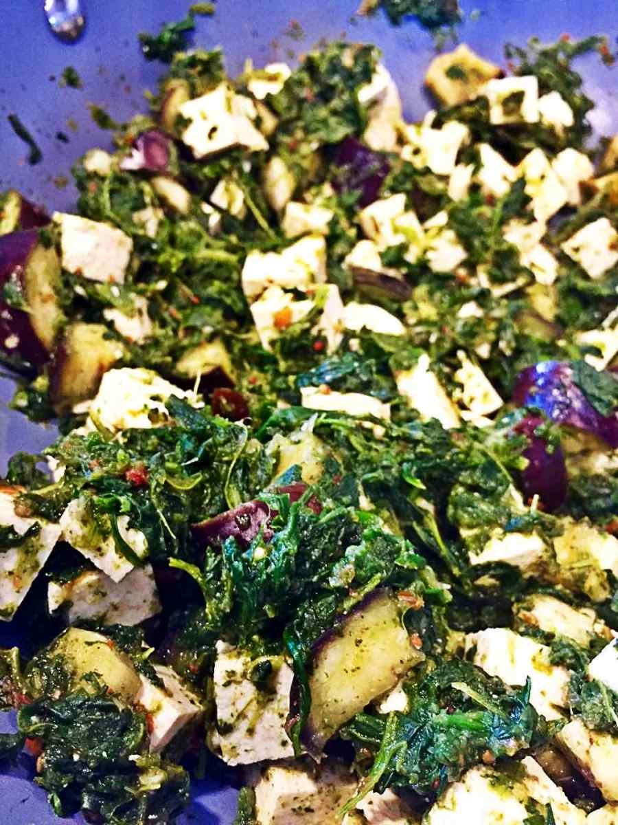 Indian Palak Paneer (Spinach, Tofu and Eggplant) Side Dish