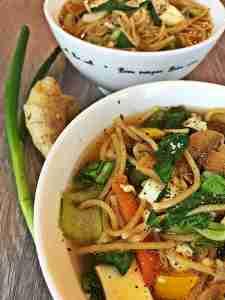 Ginger Bok Choy Tofu Noodle Soup Vegan