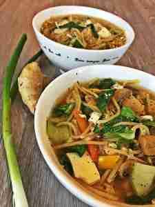 Bok Choy Mushroom Noodle Ginger Soup Vegan