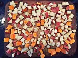 cubed white and sweet potatoes wfpb