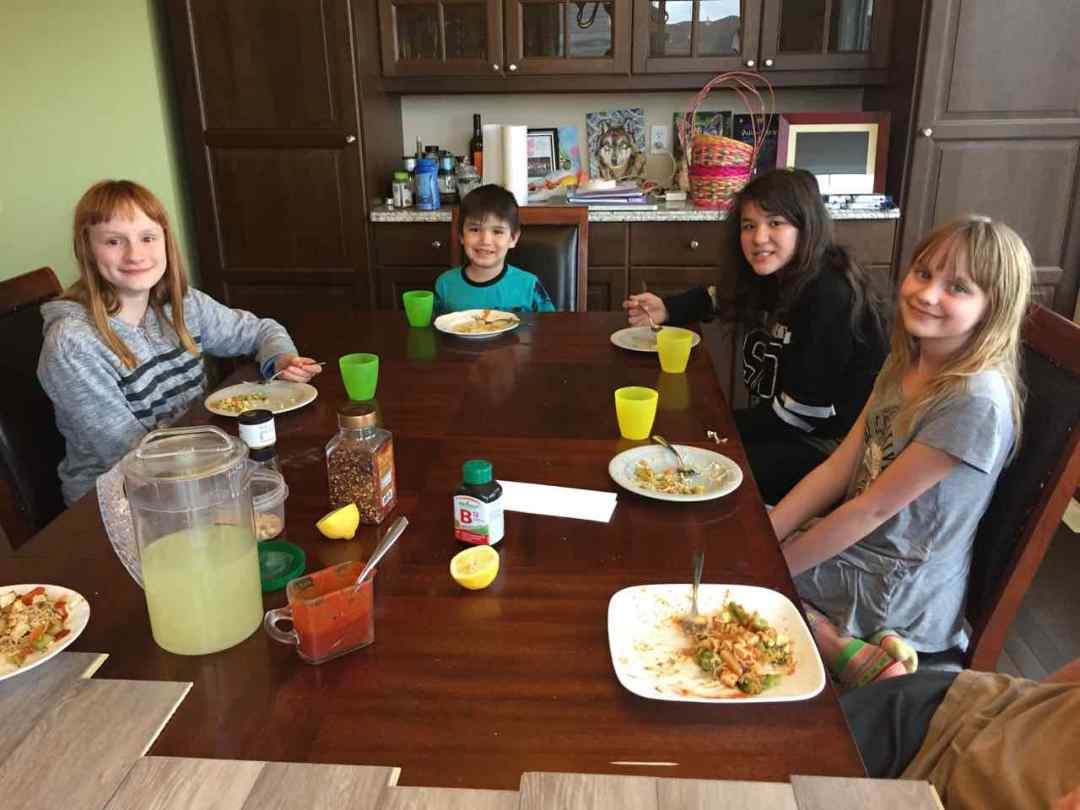 Kids enjoying vegan Pad Thai