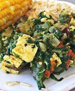 Vegan Spinach Palak Tofu Paneer with Eggplant Oil-free