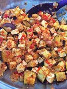 Tofu Eggplant Tomato Stir fry for Vegan Palak Paneer
