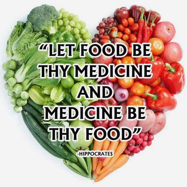 """Image of Hippocrates quote on fresh vegetables: """"Let Food Be Thy Medicine and Medicine Be Thy Food."""""""