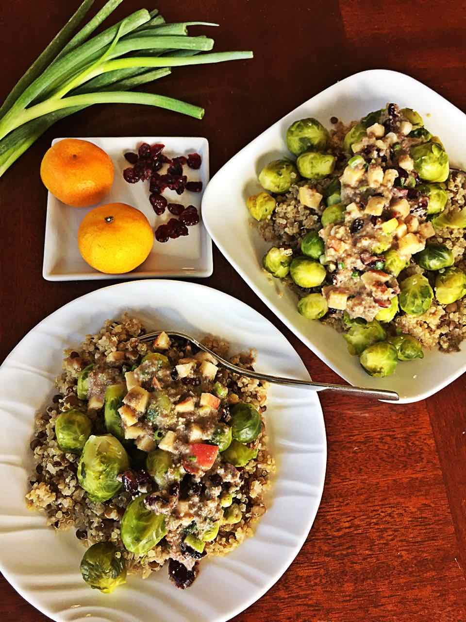 Brussels sprouts quinoa lentils with orange vegan sauce