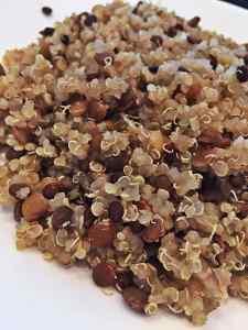 Image of cooked Quinoa lentil pilaf vegan recipe