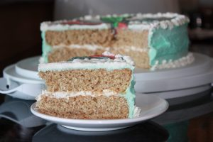 healthy aqua faba vanilla cake with whole wheat