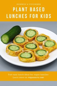 Plant Based Lunch Idea for Kids Hummus cucumber roll ups