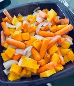 Butternut squash, carrots and onions.