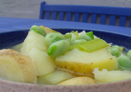 tattie and broad bean soup
