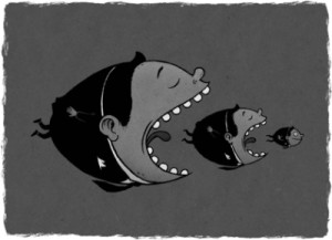 Big fish eating smaller fish eating smaller fish; meant to represent capitalism
