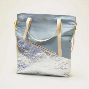 Kaliber Fashion Mix Pinatex Dames Handtas Blauw Zilver