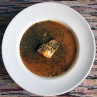 quinoa miso and seaweed soup + baked tofu + ground grilled nori and roasted sesame seeds