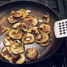 fry aubergines until golden