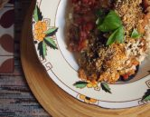 stuffed baked aubergines - a traditional syrian dish - veganised