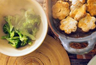 savoury cobbler and steamed broccoli