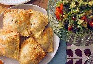 chilli veg+bean pasties, with avocado salad