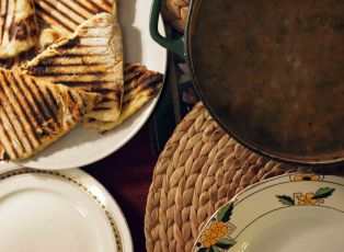 Crofter's soup and potato scones. Vegan.