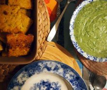 fried polenta + broccoli and watercress sauce