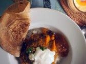 winter squash and spiced red lentil dal + rice + chapati + non-dairy yogurt