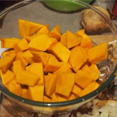 cut the peeled, washed squash into chunks, approx. 2cms.