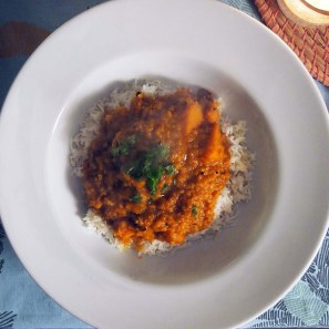 winter squash and spicy lentil dal